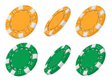 3d rendered yellow and green casino chips. Realistic 3d rendered collection of yellow and green casino chips from different angles isolated on white background Stock Images