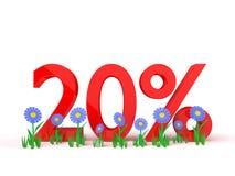 3D rendering of 20 percent on white. Background stock illustration