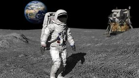 Free 3D Rendering. Astronaut Walking On The Moon. CG Animation. Elements Of This Image Furnished By NASA Royalty Free Stock Image - 153033886