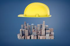 3d rendering of a big yellow construction hardhat hovers above a cluster of small business skyscrapers. royalty free stock image