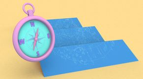 3d rendering blue maps and compass. On yellow Background Stock Image