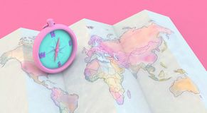 3d rendering Colorful maps and compass. On pink Background Stock Image