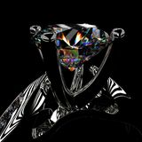 3d rendering of a diamond ring. On black Royalty Free Stock Images
