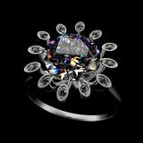 3d rendering of a diamond ring. On black background Royalty Free Stock Photos