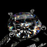 3d rendering of a diamond ring on black background. 3d rendering of a diamond ring Royalty Free Stock Image