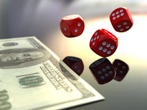 3D rendering dices and dollars Stock Photography