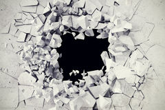 3d rendering, explosion, broken concrete wall, bullet hole, destruction, abstract background.