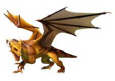 Free 3D Rendering Fairy Tale Dragon On White Royalty Free Stock Image - 218046086