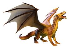 Free 3D Rendering Fairy Tale Dragon On White Royalty Free Stock Photos - 218046108