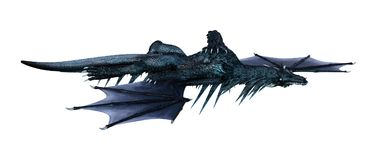 3D Rendering Fairy Tale Dragon on White Royalty Free Stock Photography