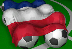 3D-rendering France flag and soccer-balls. Competitor of World Championship Stock Illustration