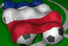 3D-rendering Frankreich Markierungsfahne und Fußballkugeln Lizenzfreie Stockfotografie
