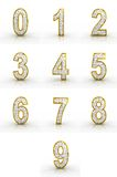 3D rendering of golden, silver numbers. Royalty Free Stock Photography