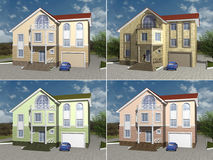 3D rendering House model. Cosy family house 3D render Royalty Free Stock Photography