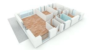 3D rendering house plan Stock Photo