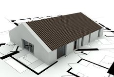 3D rendering house plan. Model Royalty Free Stock Images