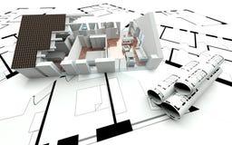 3D rendering house plan. Model Stock Images