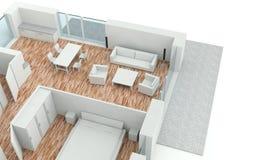 3D rendering house plan. Model Stock Image
