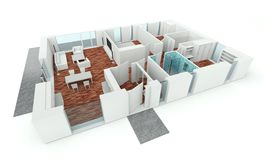 3D rendering house plan Royalty Free Stock Photo