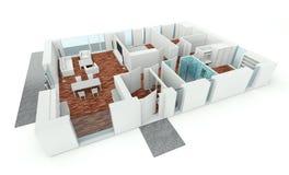 3D rendering house plan. Model Royalty Free Stock Photo