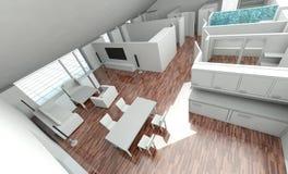 3D rendering house plan. Model Stock Photo