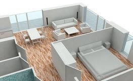 3D rendering house plan. Model Stock Photography