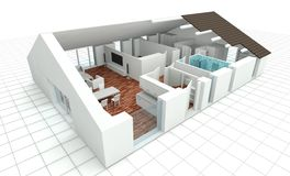 3D rendering house plan. Model Stock Photos