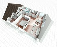 3D rendering house plan. Model Royalty Free Stock Photography