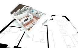 3D rendering house plan Royalty Free Stock Images