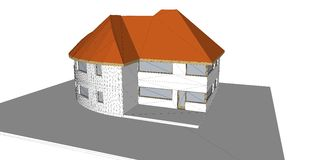 3D rendering of house. White backgroun. D Vector Illustration