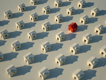 3D rendering of houses in row. With one different Stock Photography
