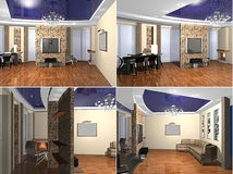 3D rendering Living room Stock Image
