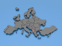 3d rendering of a map of Europe - Albania Stock Image