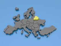 3d rendering of a map of Europe - Belarus Royalty Free Stock Photo