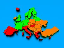 3d rendering of a map of Europe in bright colors Stock Photos