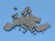 3d rendering of a map of Europe - Cyprus Royalty Free Stock Image