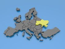 3d rendering of a map of Europe - Ukraine Stock Photos