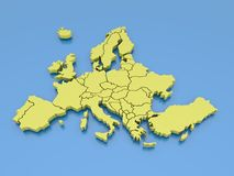 3d rendering of a map of Europe in Yellow Stock Photo