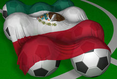 3D-rendering Mexico flag and soccer-balls. Competitor of World Championship Royalty Free Illustration
