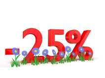 3D rendering of minus 25 percent on white. Background Royalty Free Stock Photo