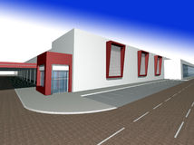 3D rendering of modern building Royalty Free Stock Photo