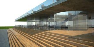 3D rendering of modern building. Luxury restaurant exterior, white sky Royalty Free Stock Image