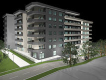 3D rendering of modern residential building Royalty Free Stock Photos