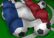 3D-rendering Netherlands flag and soccer-balls Stock Images
