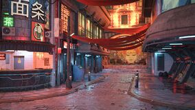 Free 3D Rendering Of A Cyberpunk City Street At Night Royalty Free Stock Image - 216739216