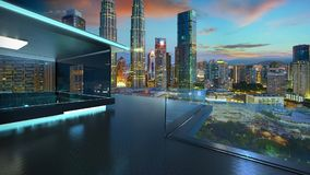 Free 3D Rendering Of A Modern Glass Balcony With City Skyline Real Photography Background Stock Photography - 111891272