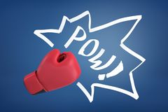 Free 3d Rendering Of A Red Boxing Glove With The Word `POW` On A Blue Background. Royalty Free Stock Photo - 132554145