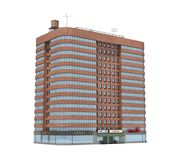 3d Rendering Of A Red Brick Apartment Building With Shops Royalty Free Stock Photo