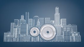 3d Rendering Of A Two Interlocking Gears Inside A Large Drawn Picture Of City Buildings On A Blue Background. Stock Photos