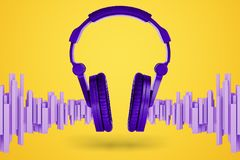 Free 3d Rendering Of Bright Violet Music Headphones With Soundwave-shaped Blocks Standing Near Them On A Yellow Background. Royalty Free Stock Image - 139009296